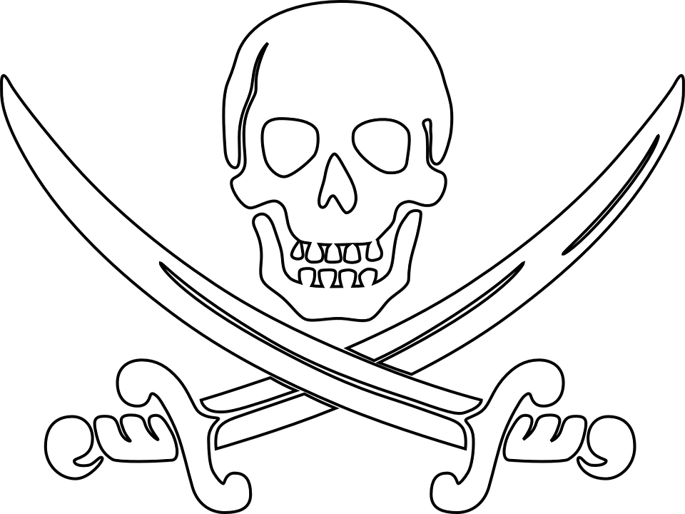 Pirate, Skull, Outline, Sword, Swords, Deathu0027S Head - Free PNG Pirate Skull