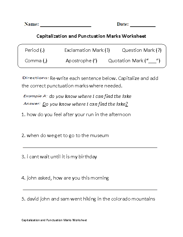 Capitalization Punctuation Marks Worksheet - Free PNG Punctuation Marks