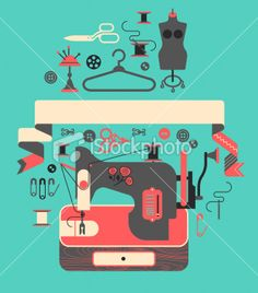 composition with sewing machine Royalty Free Stock Vector Art Illustration - Free PNG Sewing Notions