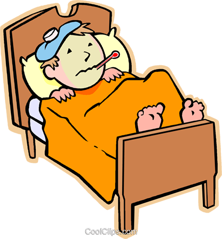 Boy sick in bed with the flu Royalty Free Vector Clip Art illustration - Free PNG Sick