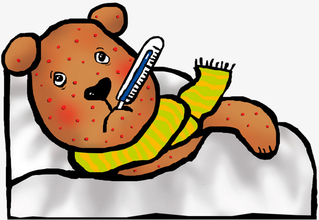 Cartoon Bear sick sick Free PNG - Free PNG Sick