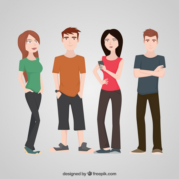 Teenagers Character Flat Set - Free PNG Teenagers