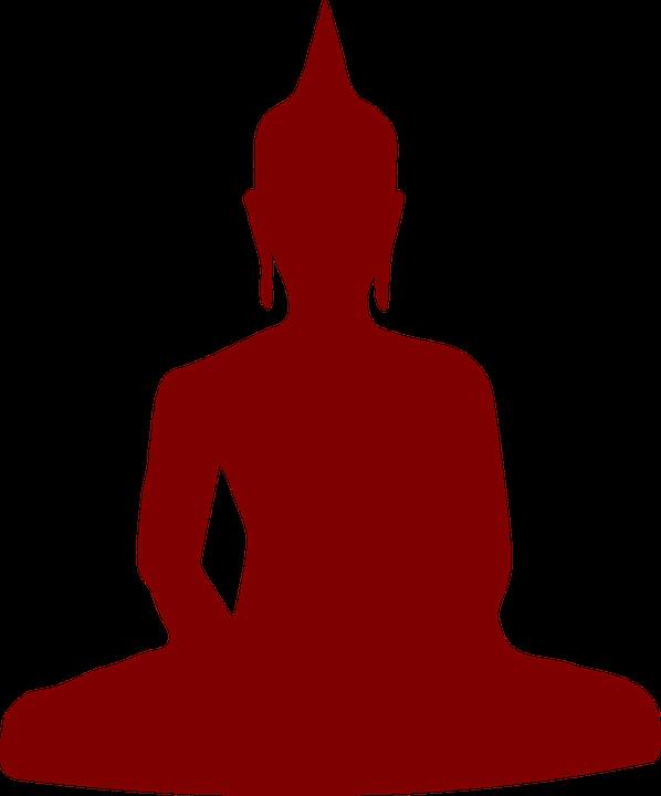 Buddhism, Yoga, Meditation, Silhouette, Man, Maroon - Free PNG Yoga