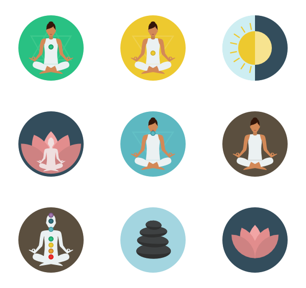 Meditation 23 icons. Yoga Poses - Free PNG Yoga