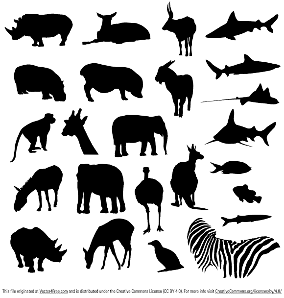 A free collection of vector animal silhouettes, featuring a range of land  based mammals alongside some aquatic life. As always, feel free to download  and PlusPng.com  - Free PNG Zoo Animals