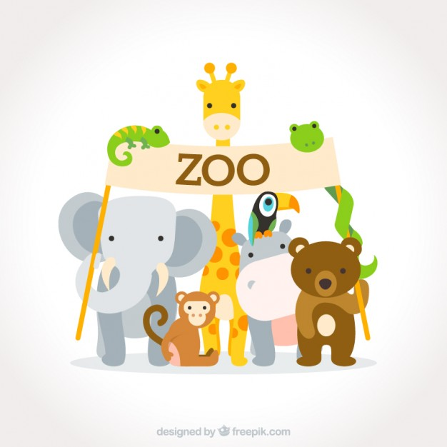 Lovely flat wild animals with a zoo sign - Free PNG Zoo Animals