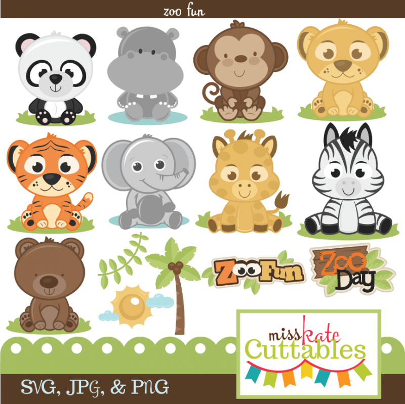 Miss Kate Cuttables Zoo Fun Bundle SVG files for scrapbooking free svg  files for cutting machines - Free PNG Zoo Animals