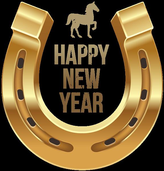 Feliz Año Nuevo con el caballo y herradura PNG Clipart - Free Western Holiday PNG