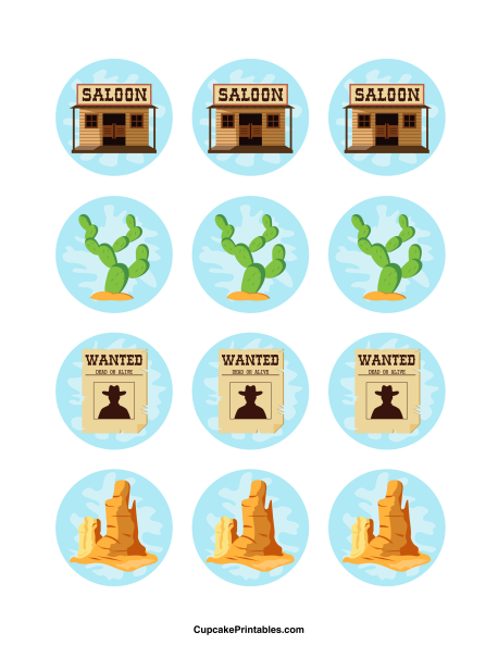 Western cupcake toppers. Use the circles for cupcakes, party favor tags,  and more. Free printable PDF download at http://cupcakeprintables pluspng.com/toppu2026 - Free Western Holiday PNG