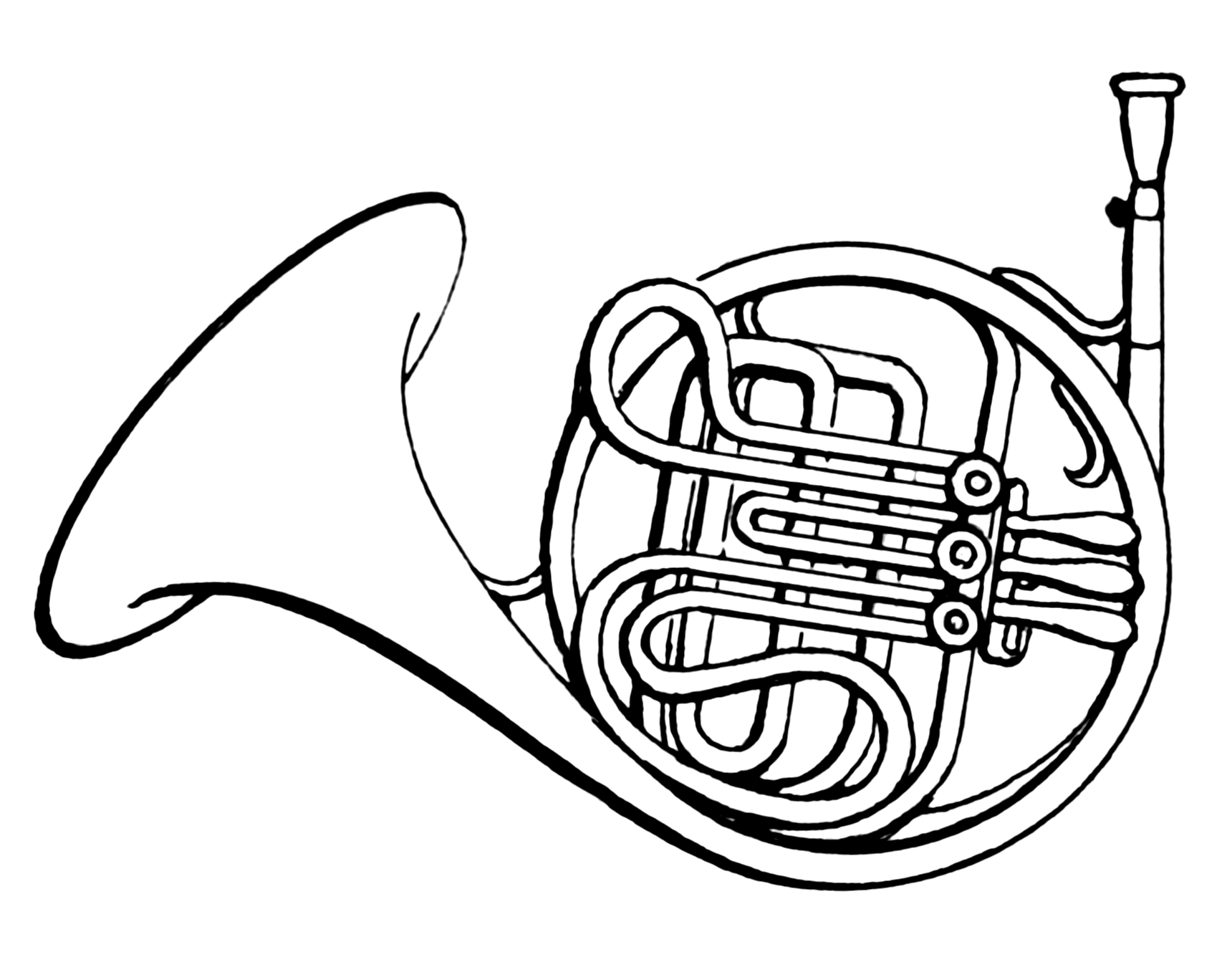 French Horn PNG Black And White