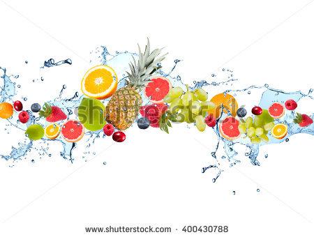 Fresh fruits falling in water splash, isolated on white background - Fruit Water Splash PNG