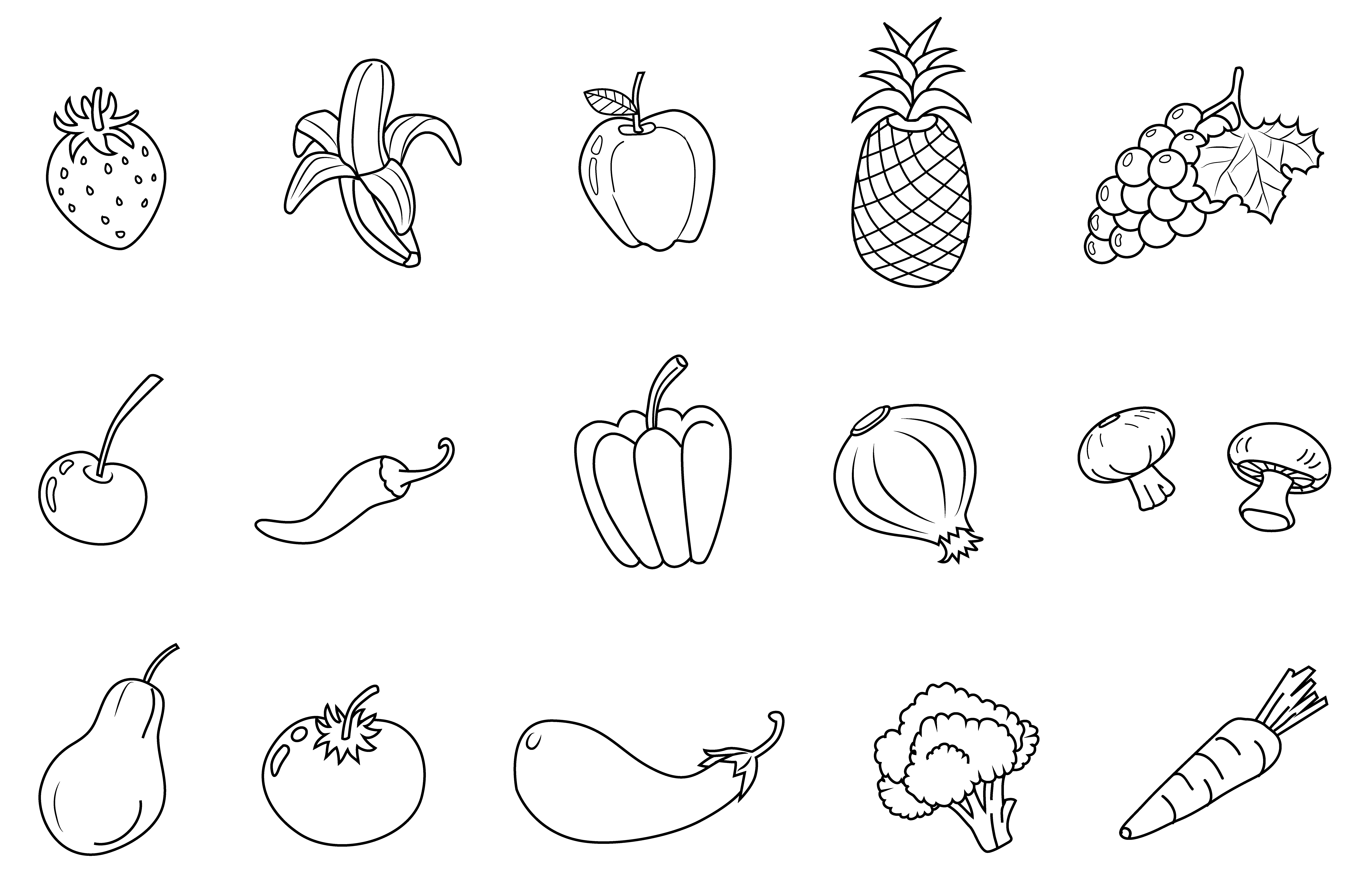 pin Fruits u0026 Vegetables clipart outline #5 - Fruit And Veg PNG Black And White