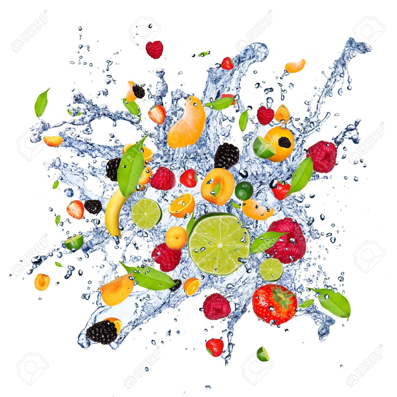 Fruit mix in water splash, isolated on white background Stock Photo -  13551982 - Fruit Water Splash PNG