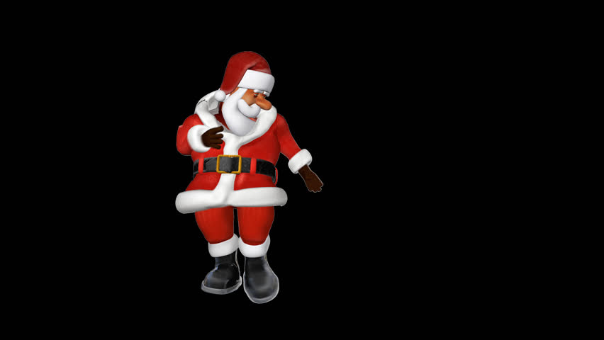 Santa jumping, gymnastic moves, Alpha PNG - HD stock footage clip - Funny PNG HD