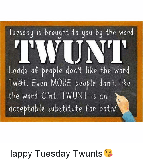 Funny, Happy, and Word: Tuesday is brought to you by the word TWUNT - Funny Tuesday PNG