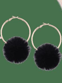 . PlusPng.com Alloy Fuzzy Ball Circle Hoop Drop Earrings PlusPng.com  - Fuzzy Ball PNG