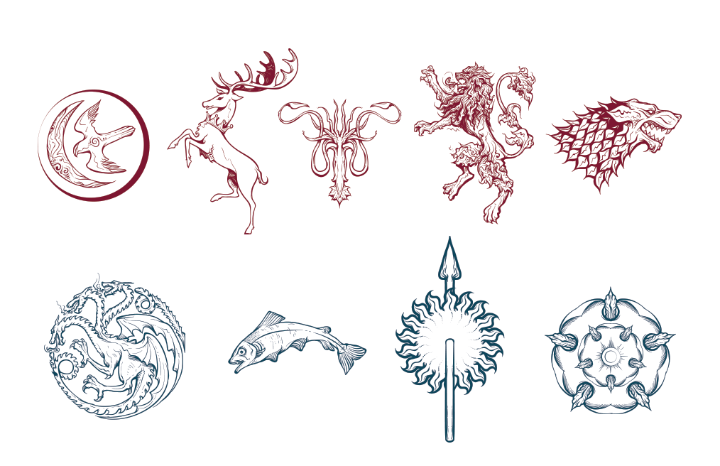 Game Of Thrones House Logos - Game Of Thrones Logo Vector PNG
