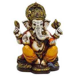 A colored u0026 Gold statue of Lord Ganesh Ganpati Elephant Hindu God made from  Marble powder in India - Ganesh Idol PNG