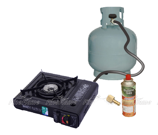 Burner: Casted aluminum. Color: Black Capacity: 168g/hr. Finish: Painting  Cartridge: 220g butane cartridge, not included. Piezo ignition - Gas Stove With Cylinder PNG