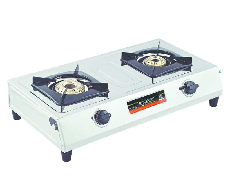 Sunshine Supreme Double Burner Stainless Steel Gas Stove - Gas Stove With Cylinder PNG