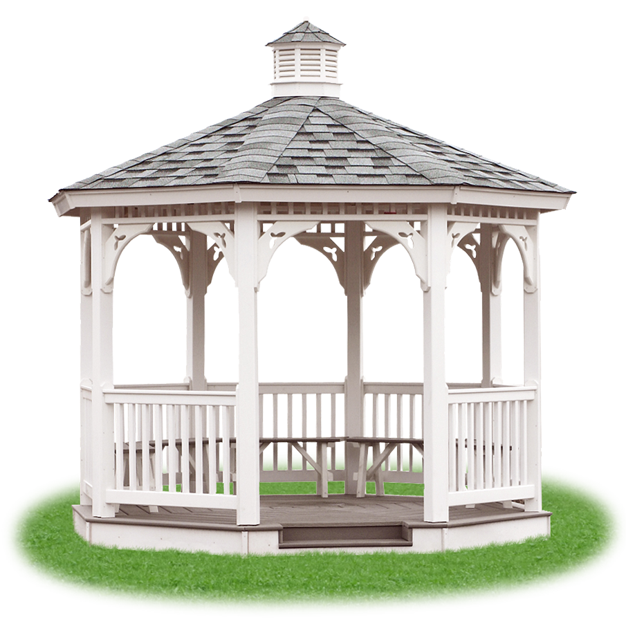 open vinyl single roof octagon gazebo from Pine Creek Structures - Gazebo PNG