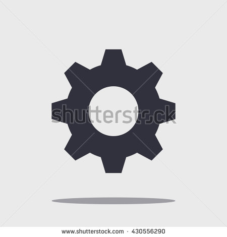 Black vector cog with shadow isolated on white, gear illustration, wheel  concept. - Gear Logo Vector PNG