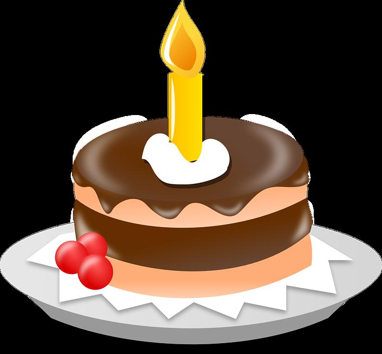 Geburtstagstorte, Kerze, Kuch
