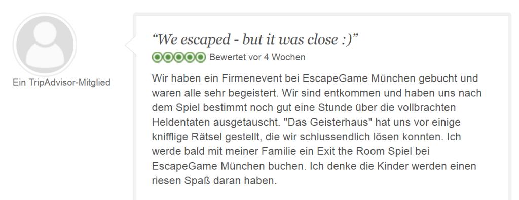 Tripadvisor Bewertung Escape Game Geisterhaus: Gerade so entkommen - Geisterhaus PNG