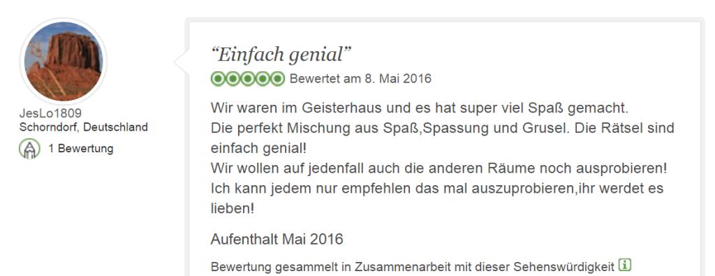 Tripadvisor Bewertung Escape Game Geisterhaus: Spaß und Grusel - Geisterhaus PNG