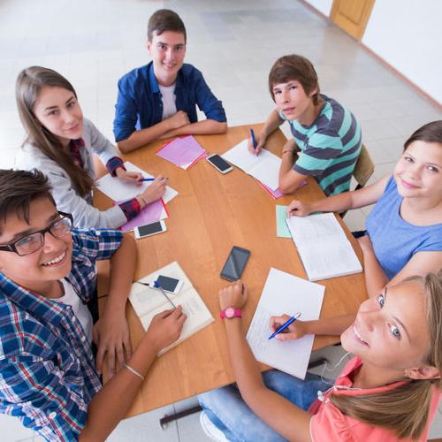 Gruppe von Schülern beim lernen - Gemeinsam Erfolgreich PNG