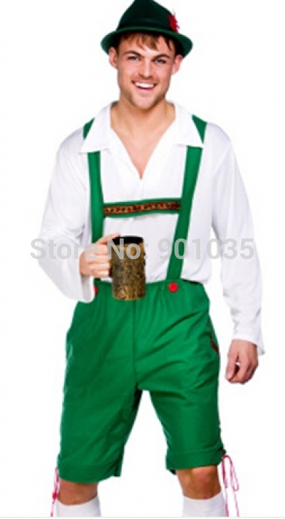 FREE SHIPPING Oktoberfest Lederhosen   Hat Fancy Dress Mens German Beer Man  Bavarian Costume(China - German Lederhosen PNG