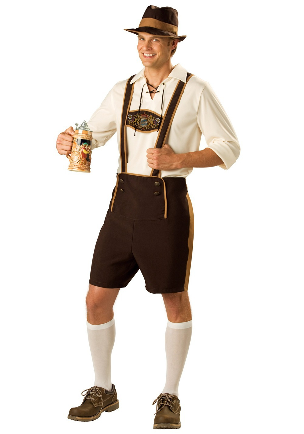 Mens Bavarian Guy German Lederhosen Beer Oktoberfest Costume Plus Size M L  XL XXL(China) - German Lederhosen PNG