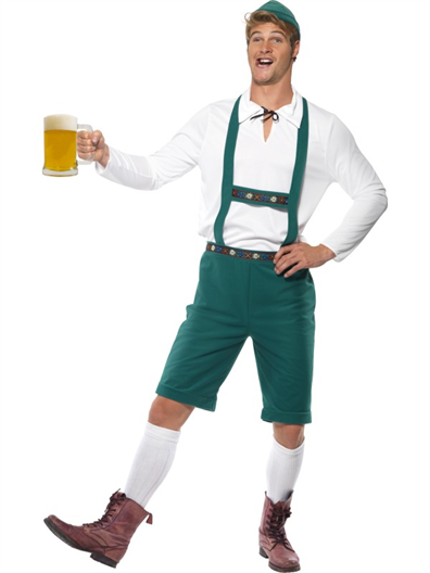 Oktoberfest Costume, Green, Lederhosen Shorts with Braces, Top and Hat - German Lederhosen PNG