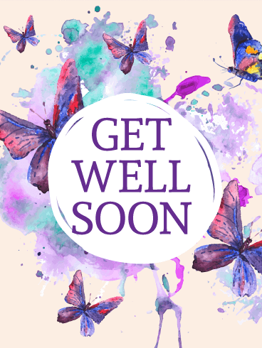 Purple Butterflies Get Well Card - Get Well Card PNG