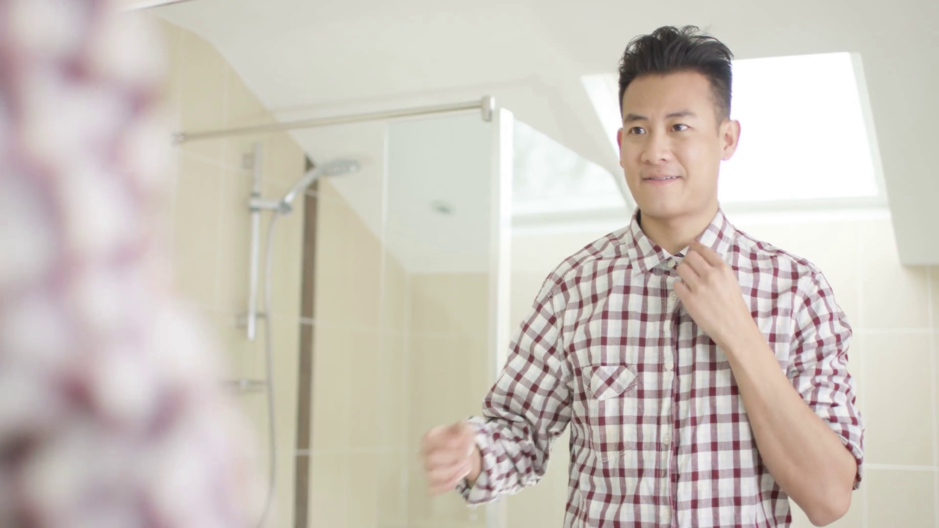 4K Cheerful young Asian man getting dressed u0026 looking in mirror Stock Video  Footage - VideoBlocks - Getting Dressed PNG HD