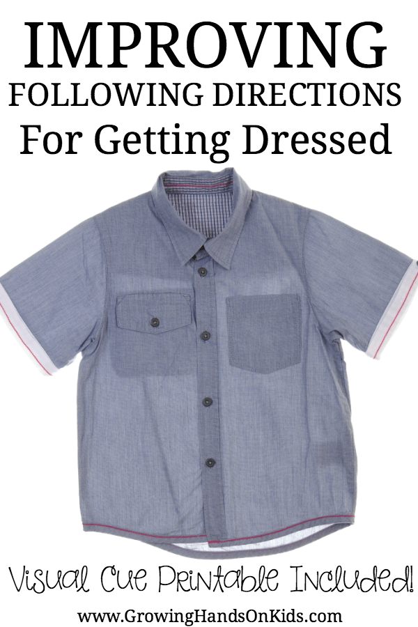Tips for improving following directions for getting dressed. Includes a  free visual cue printable for - Getting Dressed PNG HD