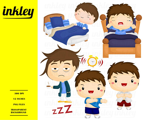 Wake up Clipart, Wake up Clip Art, Wake up Png, Morning Clipart, Get Ready  Clipart, Bed Clipart, Alarm Clipart, Sleep Clipart, Sleeping from  InkleyStudio on PlusPng.com  - Getting Ready For Bed PNG