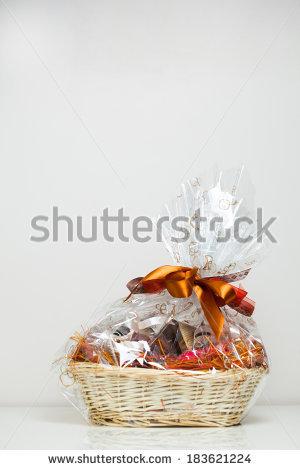 gift basket against light beige background - Gift Basket PNG HD