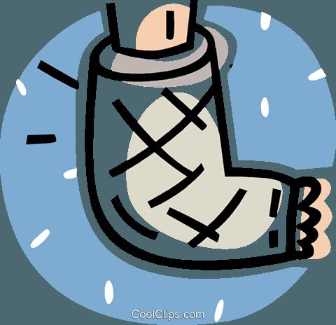 broken foot in a cast Royalty Free Vector Clip Art illustration - Gipsarm PNG