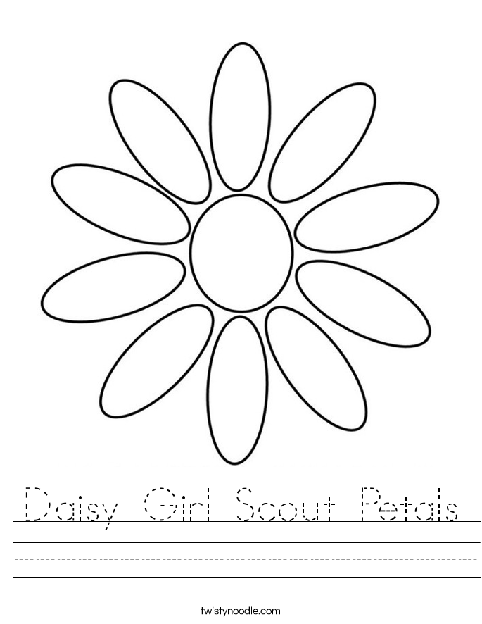 Daisy Girl Scout Petals Worksheet. - Girl Scout Daisy PNG HD