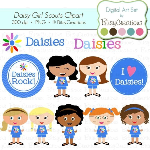 Daisy Girl Scouts Digital Art Set Clipart by BitsyCreations Commercial Use  Clip Art by Meka Dunsmore | Daisy Girl Scouts | Pinterest | Daisy girl  scouts, PlusPng.com  - Girl Scout Daisy PNG HD