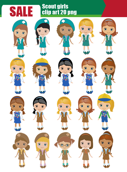 Scrapworld2010 Com Product Scout Girl Daisy Scout Clip Art Set 20 Png - Girl Scout Daisy PNG HD