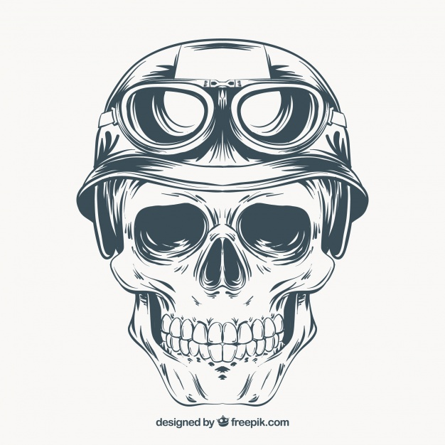Hand Drawn Skull With Helmet And Glasses - Girl Skull PNG HD