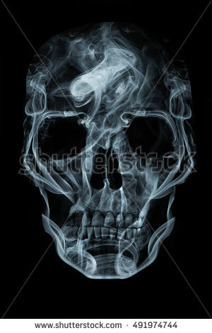 Human skull made of smoke. Memento mori concept. - Girl Skull PNG HD