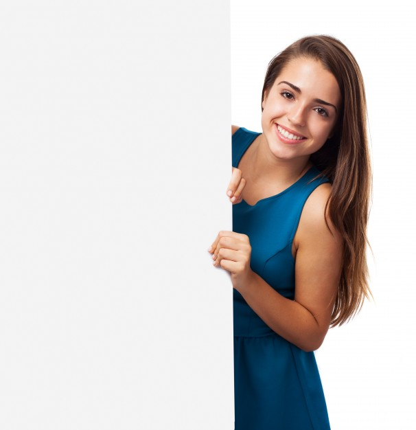 Stylish girl with a signboard - Girl Thinking PNG HD