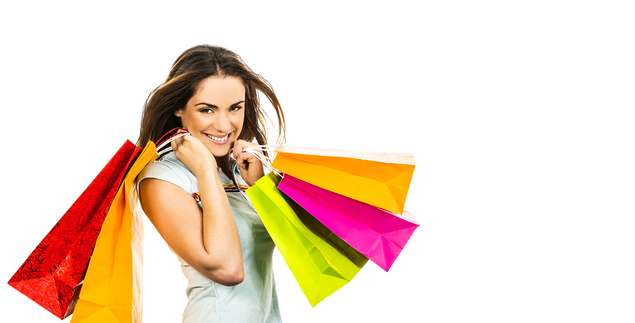 Girl With Shopping Bags PNG - 161906