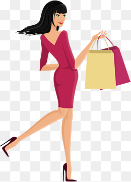 a woman carrying a shopping bag, Shopping, Shopping Bag, Customer PNG and  Vector - Girl With Shopping Bags PNG