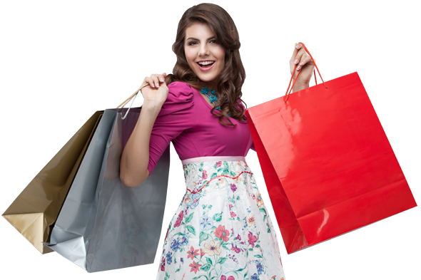 Ask immediately for Your preempt. Customized shopping bags - Girl With Shopping Bags PNG