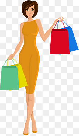 Girl With Shopping Bags PNG - 161912