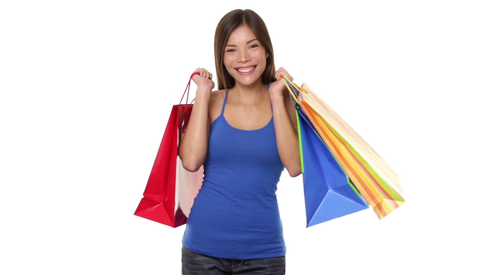 Female shopper looking at empty copy space. Isolated on white background.  Beautiful Chinese Asian Caucasian girl holding shopping bags. - Girl With Shopping Bags PNG